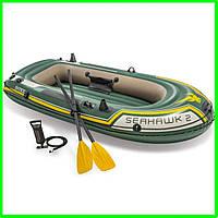 Лодка Intex 68347 Seahawk 2 Set двухместная + 2 весла + насос