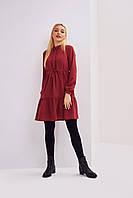 Женское платье А-силуэта бордового цвета до колен