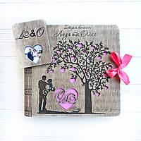 Свадебный фотоальбом в деревянной обложке