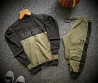 Спортивный костюм мужской Under Armour black-khaki   осенний весенний ТОП качество, фото 1