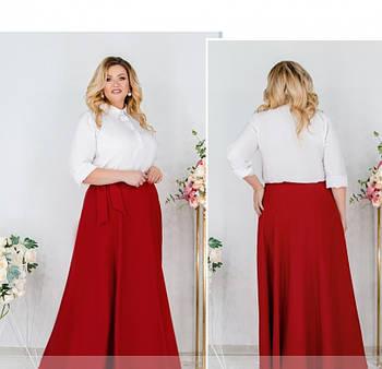 / Размер универсальный 48-56 / Женская стильная юбка батал А-силуэта / 3239-Красный