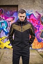 "Куртка-ветровка с капюшоном Pobedov Jacket ""Ragnar"" Black-Khaki insert"