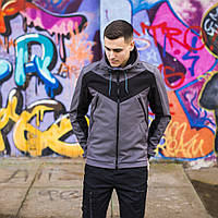 """Куртка-ветровка с капюшоном Pobedov Jacket """"Ragnar"""" Grey-Black insert, фото 1"""