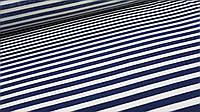 Ткань вискоза в полоску темно-синего цвета с белым