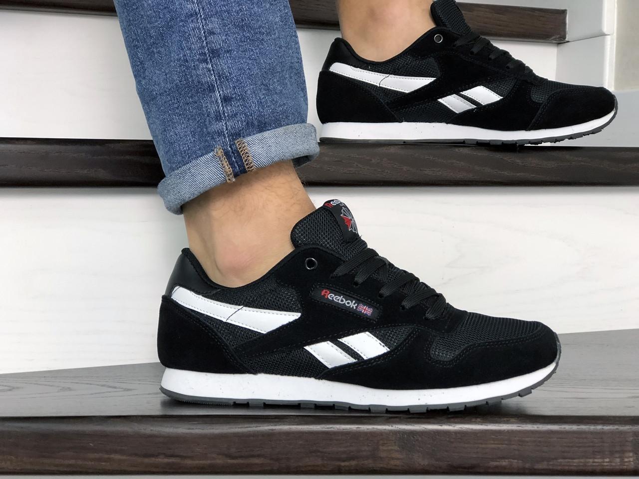 Мужские замшевые кроссовки Reebok черно белые