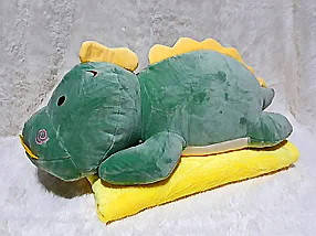 Плед мягкая игрушка 3 в 1  Динозаврик зеленый  (06)