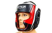 Шлем боксерский с полной защитой кожаный Venum (М-XL) Черный-красный-белый M PZ-BO-5239_1