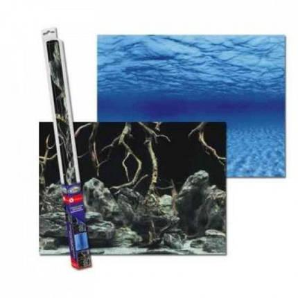 Аквариумный задний фон Aqua Nova Синее море_Камни с корягами, 100x50 см, фото 2