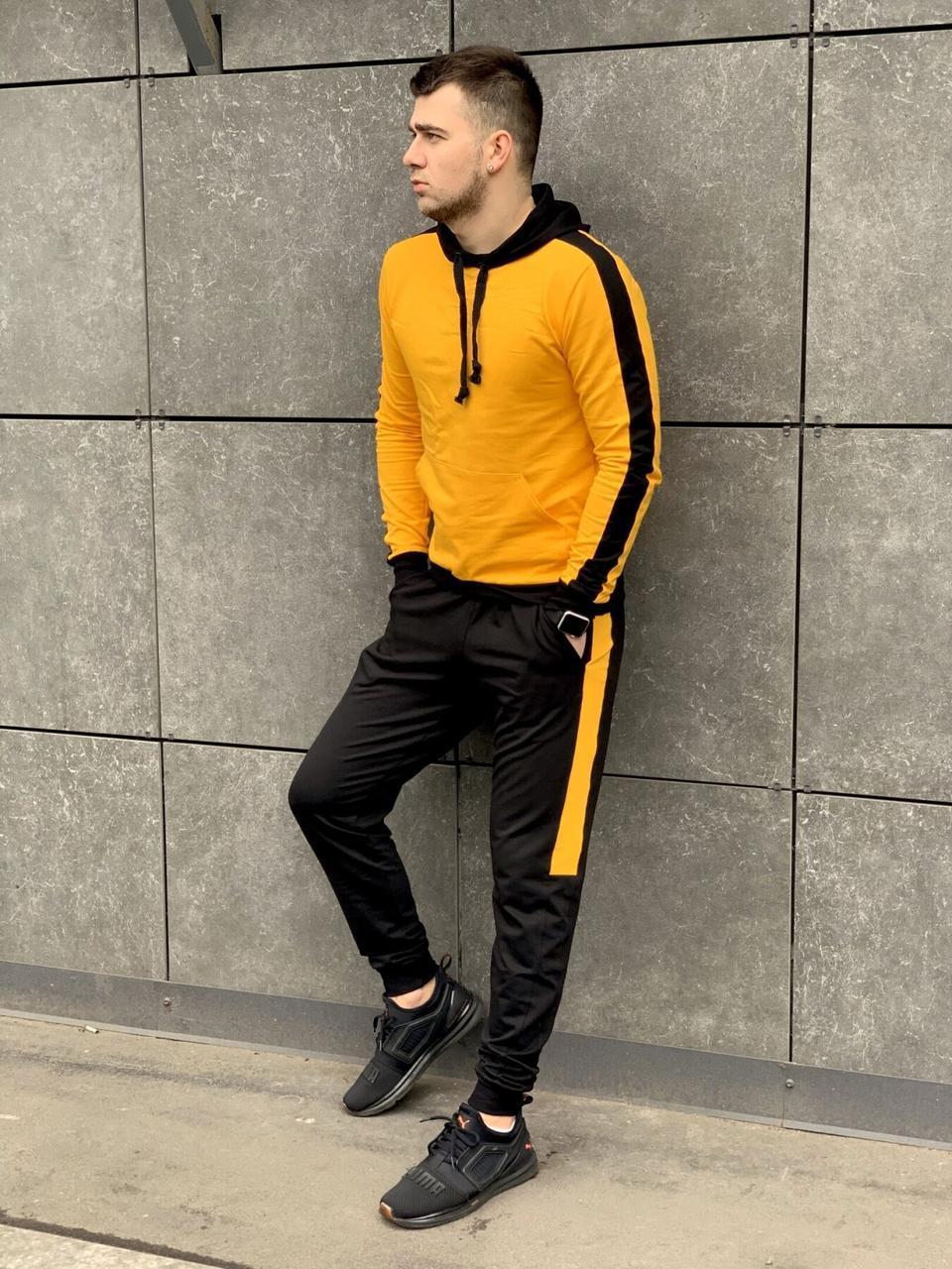 Мужской спортивный костюм с лампасами желтый