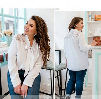 / Размер 50-52,54-56,58-60,62-64 / Женская рубашка большого размера с кружевом / 1893-1-Белый