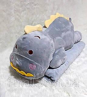 Плед мягкая игрушка 3 в 1  Динозаврик серый (07)