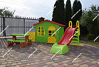 Дитячий будинок, будиночок, детский домик, дом Mochtoys + дитяча гірка, детская горка 180 см + столик
