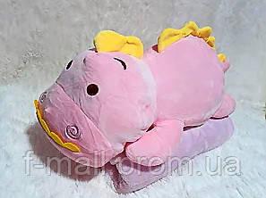 Плед мягкая игрушка 3 в 1  Динозаврик розовый  (23)