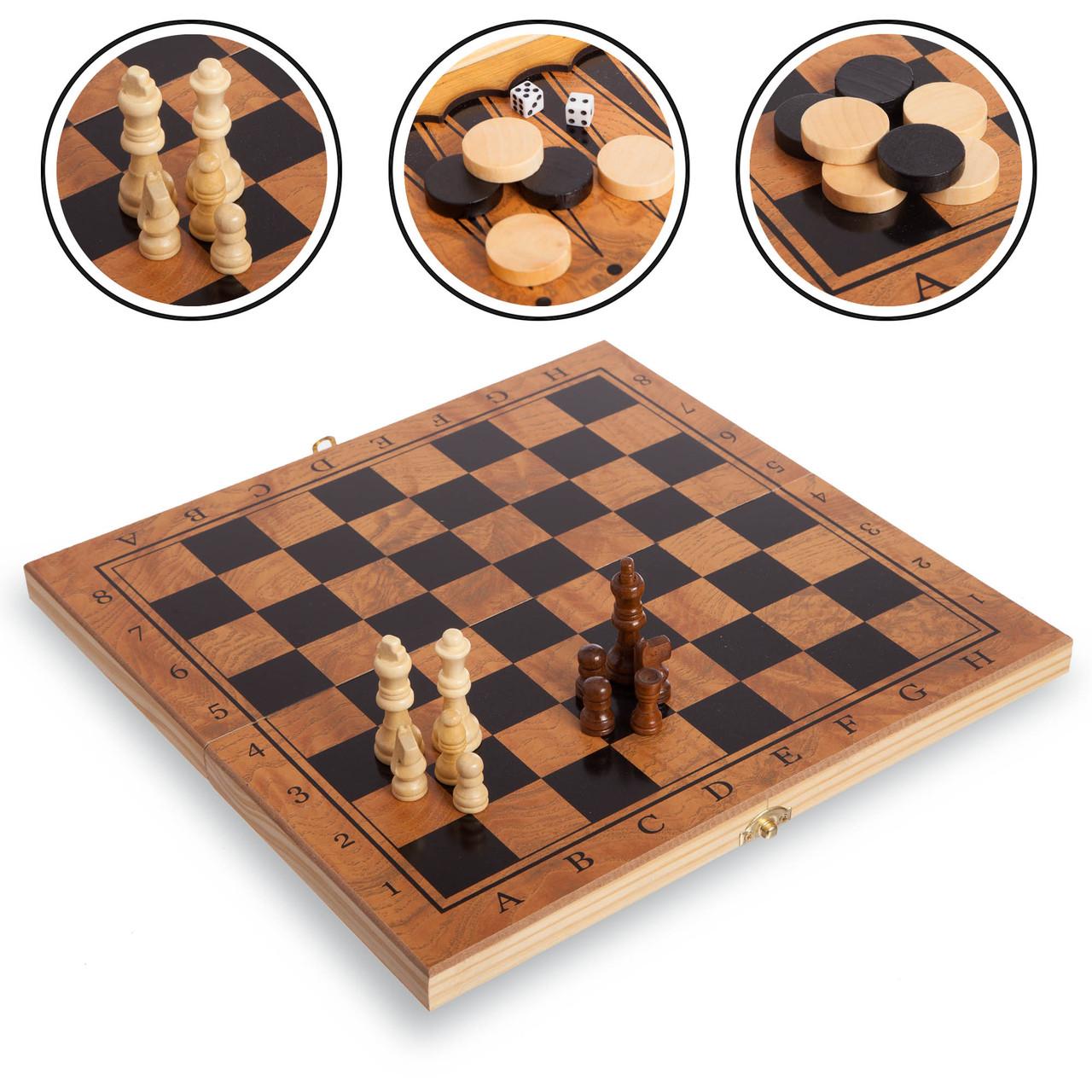Шахматы, шашки, нарды 3 в 1 деревянные (фигуры-дерево, р-р доски 34см x 34см)