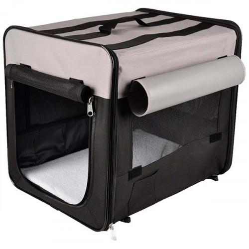 Сумка-переноска Flamingo Smart Top Plus намет для собак, складна, тканина, чорно-сірий, 94х56х71 см