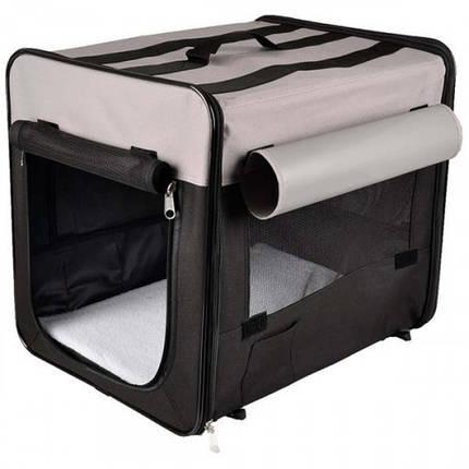 Сумка-переноска Flamingo Smart Top Plus намет для собак, складна, тканина, чорно-сірий, 94х56х71 см, фото 2