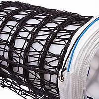 Сетка для волейбола ЕВРО (PP 3мм, 9,5x1м, ячейка 10x10см, с паракордом, белый, черный-белый) PZ-SO-2067