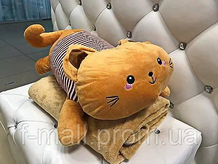 Плед мягкая игрушка 3 в 1  Котик рыжий  (26)