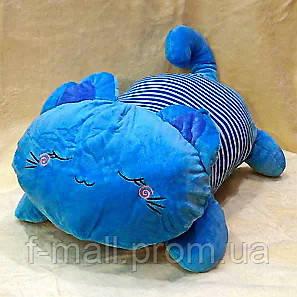 Плед мягкая игрушка 3 в 1  Котик голубой  (27)