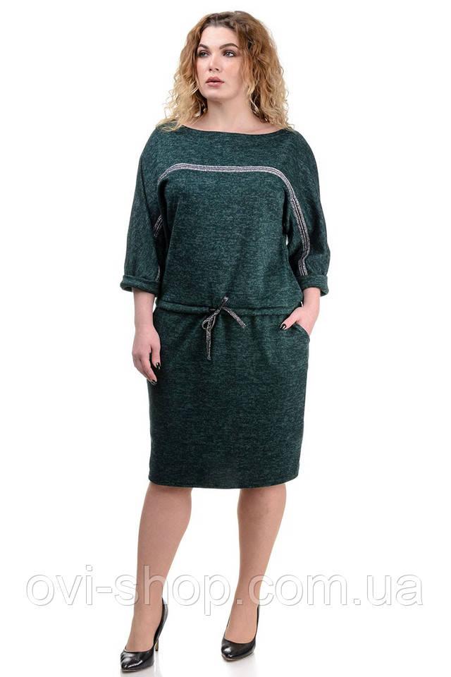 Платье зеленое большой размер
