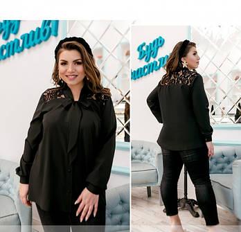 / Размер 50-52,54-56,58-60,62-64 / Женская рубашка большого размера с кружевом / 1893-1-Черный