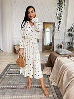 Легкое и воздушное летнее женское платье молочного цвета с разноцветным принтом горошек