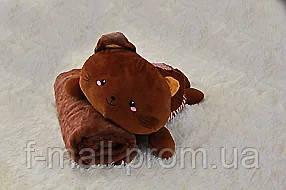 Плед мягкая игрушка 3 в 1  Котик шоколадный  (29)