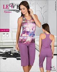 Комплект летний  женской домашней одежды, (борцовка+бриджи), Lewe (размер S-M)