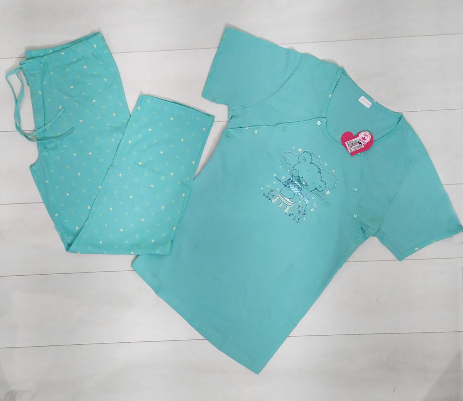 """Комплект жіночої домашньої одягу .для годування """"Кофта короткий рукав+штани х/б VS"""