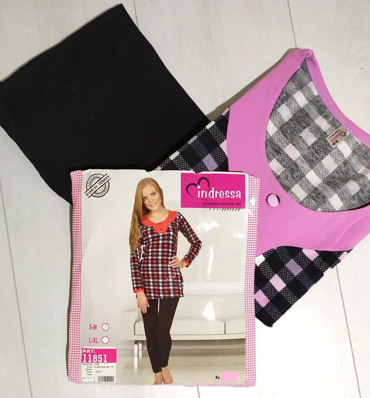 Комплект жіночої домашньої одягу, (туніка довгий рукав+штани), ПАК/2шт, (S-М,L - XL) Mis. Victoria
