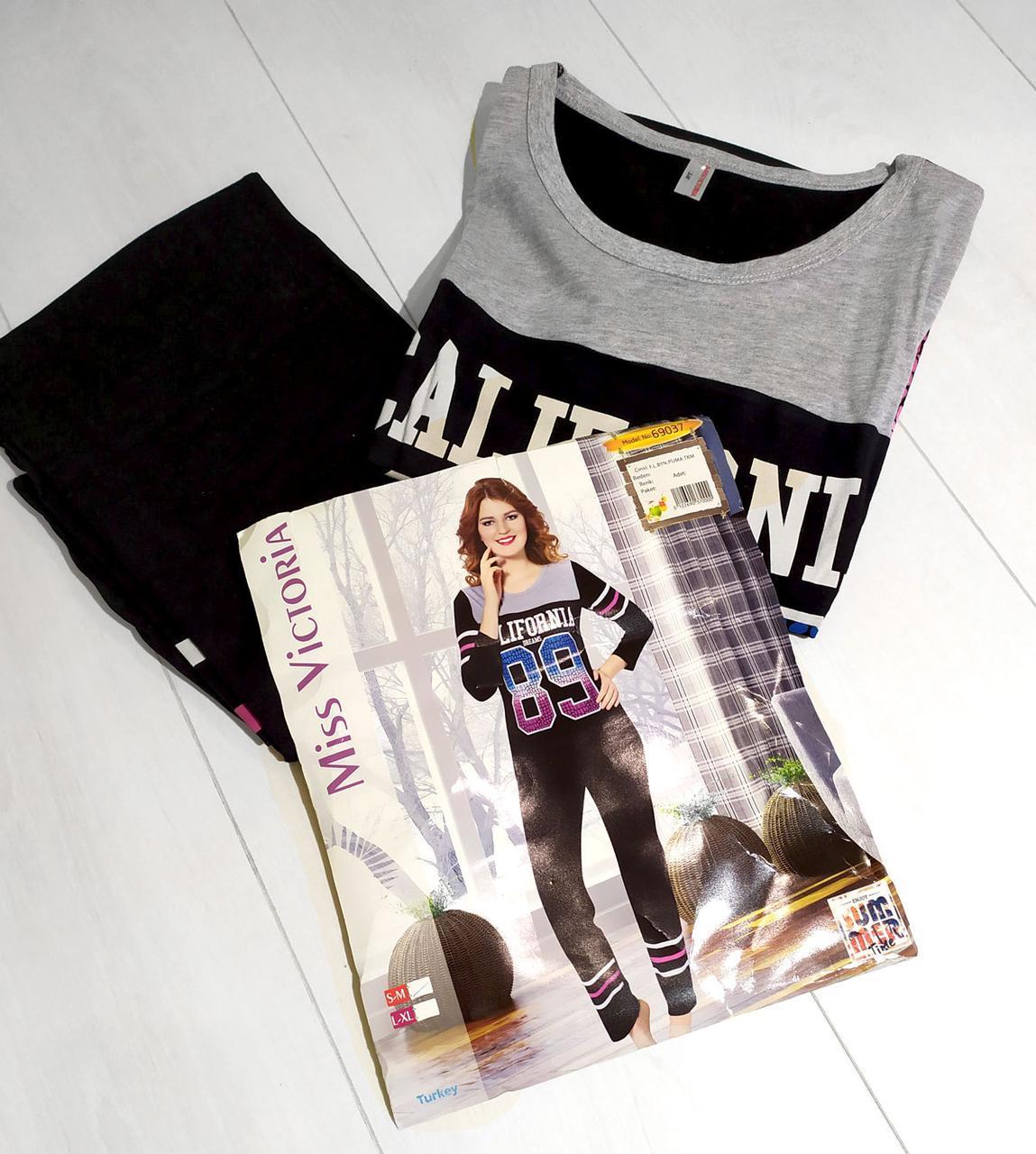 Комплект демисезонный женской домашней одежды,  (футболка длинный рукав+штаны),   Mis. Victoria