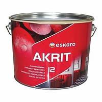 Краска ESKARO Akrit 12 износостойкая моющаяся для стен (полуматовая), 9,5 л