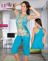 Комплект летний женской домашней одежды,  (борцовка+бриджи), Lewe  (размер L-XL)