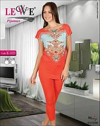 Комплект летний женской домашней одежды, (туника короткий рукав+капри), Lewe  (размер S-M)