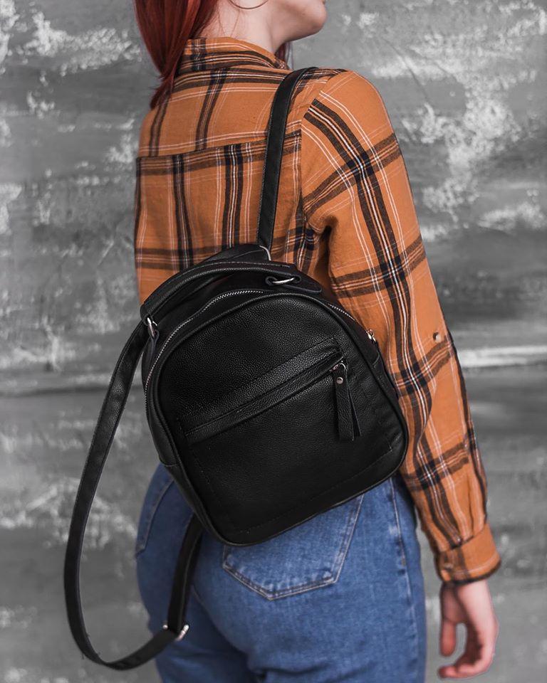 Маленький жіночий шкіряний рюкзак М263black сумка-трансформер чорна через плече