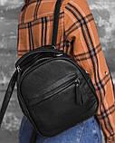 Маленький жіночий шкіряний рюкзак М263black сумка-трансформер чорна через плече, фото 2