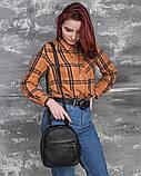 Маленький жіночий шкіряний рюкзак М263black сумка-трансформер чорна через плече, фото 7
