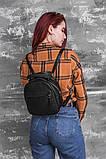 Маленький жіночий шкіряний рюкзак М263black сумка-трансформер чорна через плече, фото 8