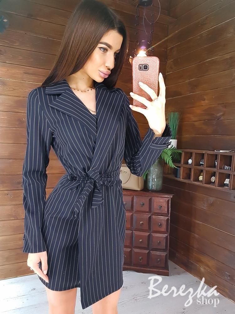 Платье - пиджак в полоску на запах с поясом и длинным рукавом 66ty988Q
