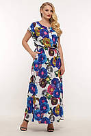 Красивое женское платье большого размера в принт, размер 52-58