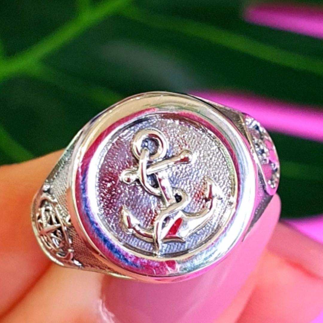 Серебряное мужское кольцо Якорь - Морское кольцо Якорь и Компас - Подарок моряку