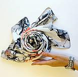 Палантин шелковый 10763-1, павлопосадский палантин шелковый (атласный), размер 65х200, фото 5