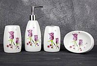 Набор аксессуаров 4 предмета для ванной Stenson R22343 Бутоны Роз