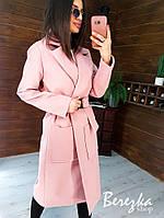 Кашемірове жіноче Жіночі пальто міді з кишенями і поясом фастекс 66mpa269E