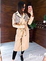 Жіночий бежевий коттоновый тренч міді з прінтованнимі вставками 66mpa271Q