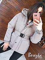 Жіноча світловідбиваюча куртка в стилі ienmku з поясом і капюшоном 66mpa273Q