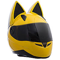 Мото Кото шлем с ушками женский (размер M-L) Желтый L PZ-MS-1650_1