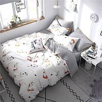 """Комплект постельного белья """"Приключения кота"""" (двуспальный-евро)"""