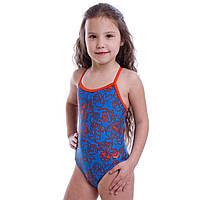 Купальник для плавания слитный детский Arena MEVERET KIDS возраст 4-5 лет голубой-оранжевый PZ-AR-23719-83