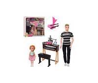 Кукла 7726-B2  Кен, 30см,шарнирн,с дочкой 12см, муз.инструменты, стол, в кор-ке, 36,5-34-7см(7726-B2)